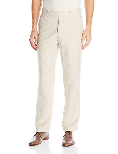 4adfa5b8 Cubavera Men's Easy Care Linen Blend Flat Front Pant, Khaki, 36x34. Herringbone  texture ...