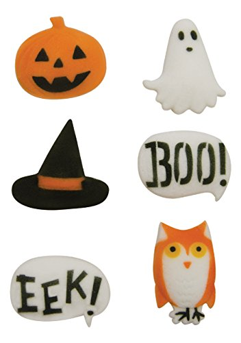 Halloween Spooktacular Asst. Pumpkin Ghost Witch Hat Owl Boo Eek Sugar Decorations Cookie Cupcake Cake 12 Count