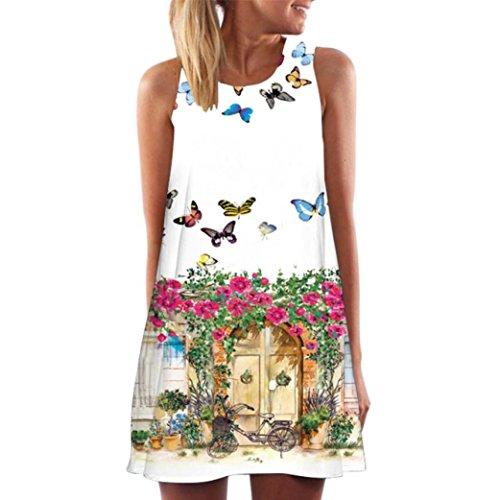 873a310886 Womens dress summer o-neck boho sleeveless floral printed beach mini dress  casual t-shirt short dress Women Summer Boho Print Floral Print Sleeveless  Casual ...