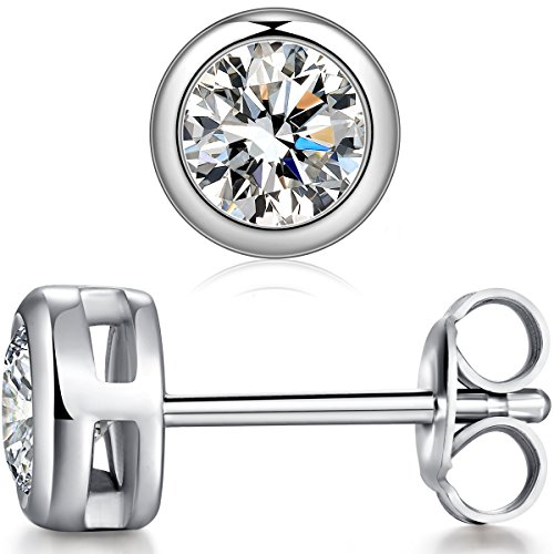 9d51e7db1 We possess a stronger design team develop fashion style jewelry. Cubic  zriconia silver earrings Size♥ Bezel Set Earrings 2x1ct: L 15. 02mm*w 6.